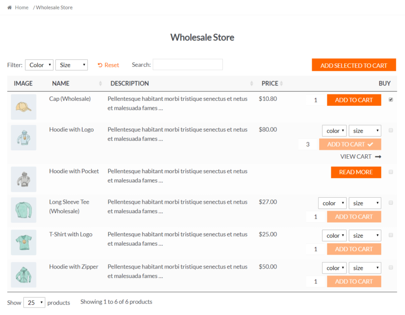 Front-end preview of the wholesale product table