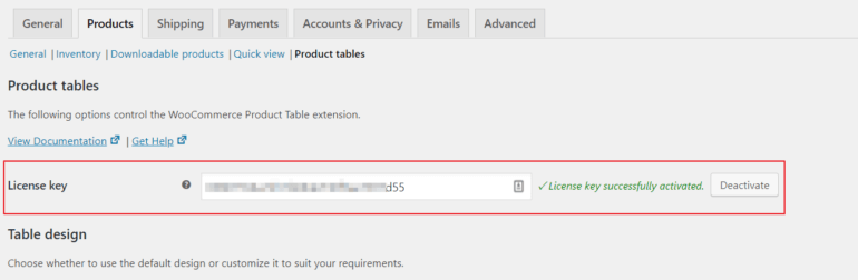 Activate the WooCommerce Product Table license key