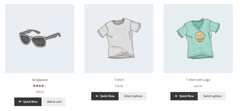 WooCommerce Quick View Pro default preview with quick view buttons