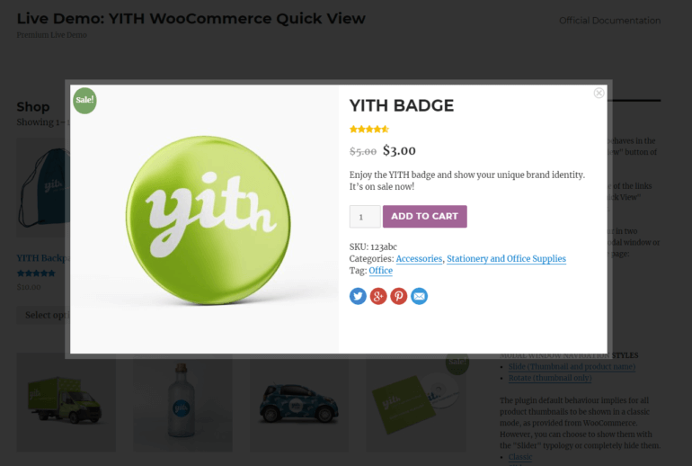 YITH WooCommerce Quick View lightbox contents