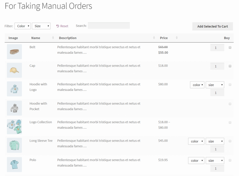 WooCommerce order form with checkbox only