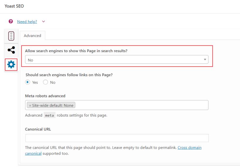 Page set to noindex using Yoast SEO plugin