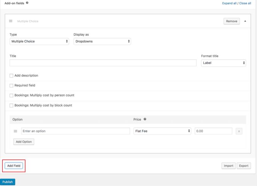 Create a new custom field using WooCommerce Product Add-Ons