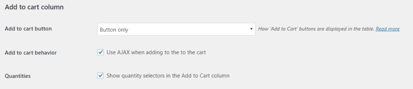 WooCommerce Product Table plugin's add to cart settings
