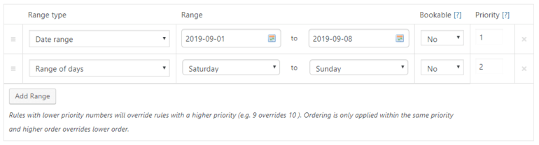 Option for setting availability based on a range