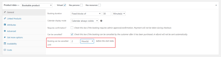 Option for cancelling booking