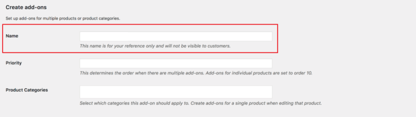 Create new product add-ons