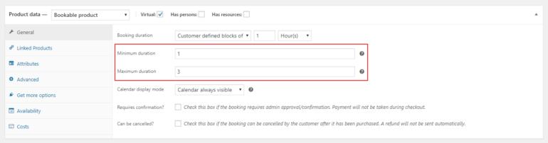 Customer defined blocks of option