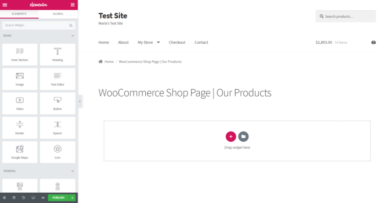Elementor page builder preview