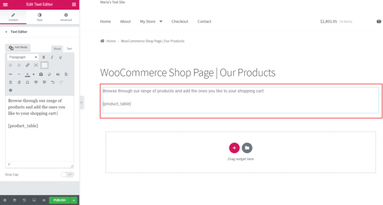 Adding the WooCommerce Product Table shortcode in Elementor