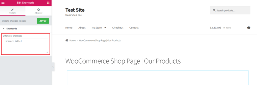 Adding the WooCommerce Product Table shortcode in Elementor using the shortcode widget