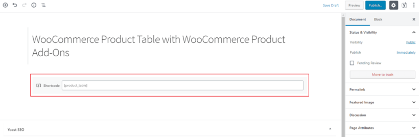 WooCommerce Product Table shortcode in the Gutenberg text editor