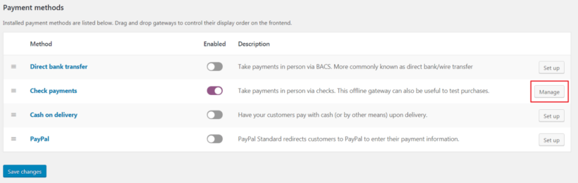 Button for managing payment options
