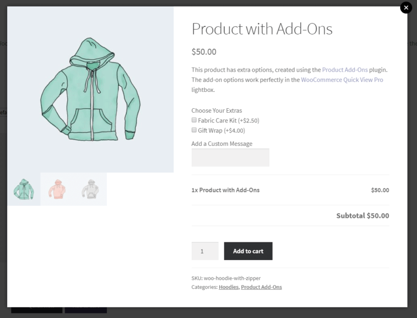 WooCommerce Quick View Pro with product add-on options