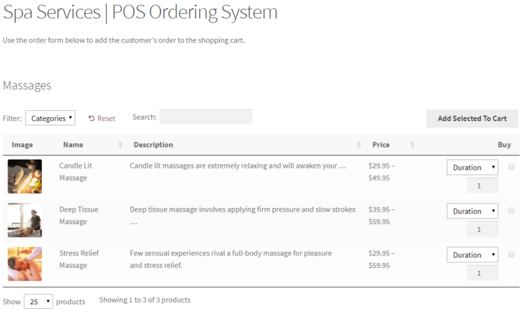 Preview of front-end POS ordering system in WooCommerce