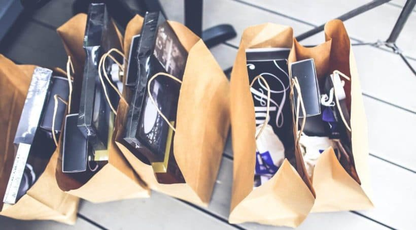 Brown shopping bags in a row