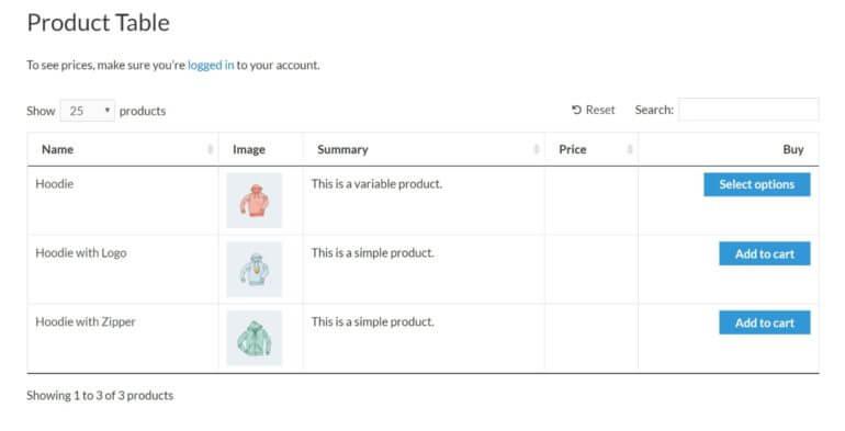 Hide price column until user logs in