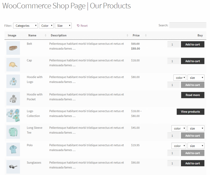 WooCommerce Product Table preview on the front-end