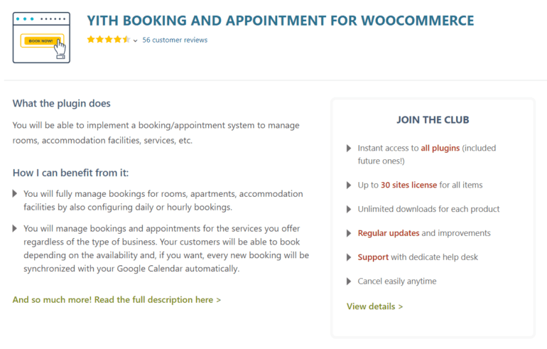 YITH Booking and Appointment for WooCommerce plugin
