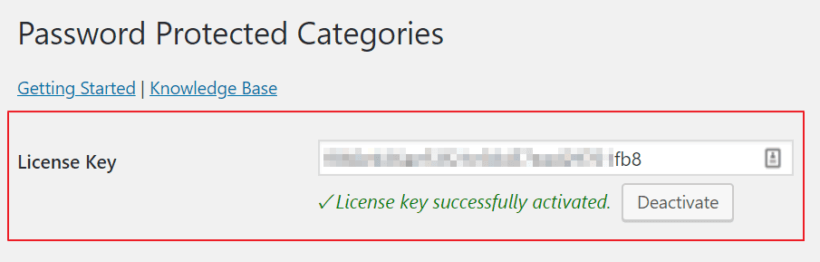 Enter license key for Password Protected Categories