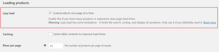 WooCommerce Product Table's lazy load option