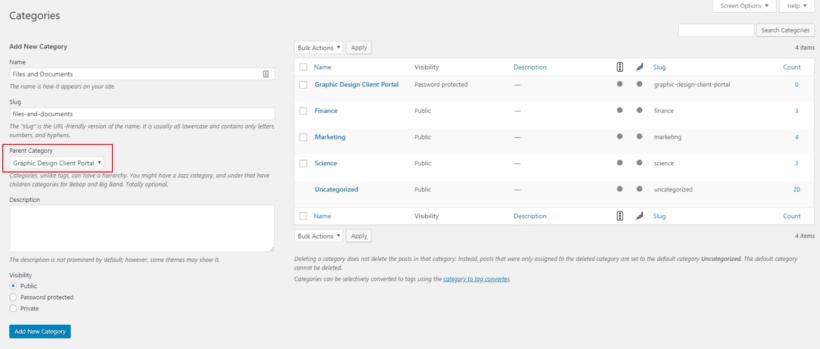 Creating sub-category