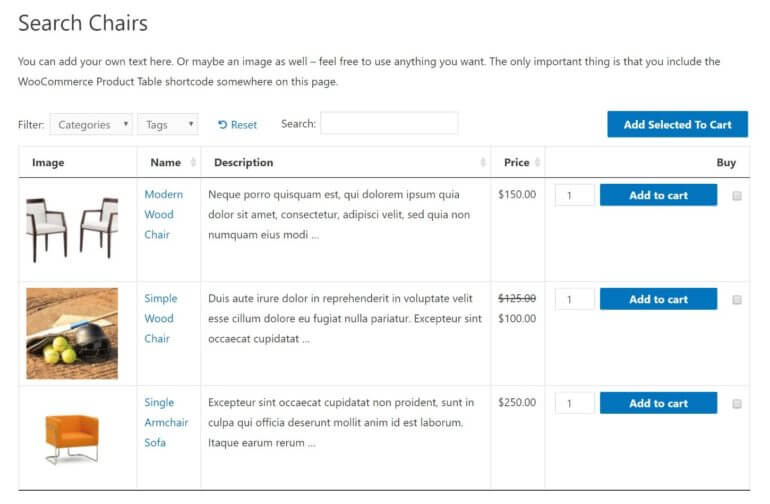 A WooCommerce category page with a table layout