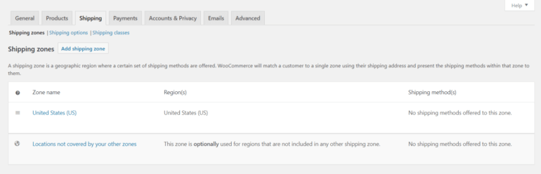 WooCommerce shipping zones settings