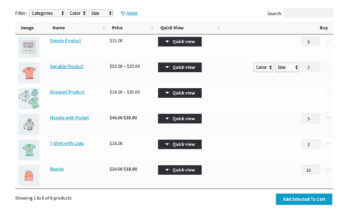 WooCommerce Default Quantity product table