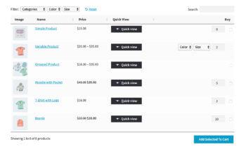 WooCommerce Default Quantity product table