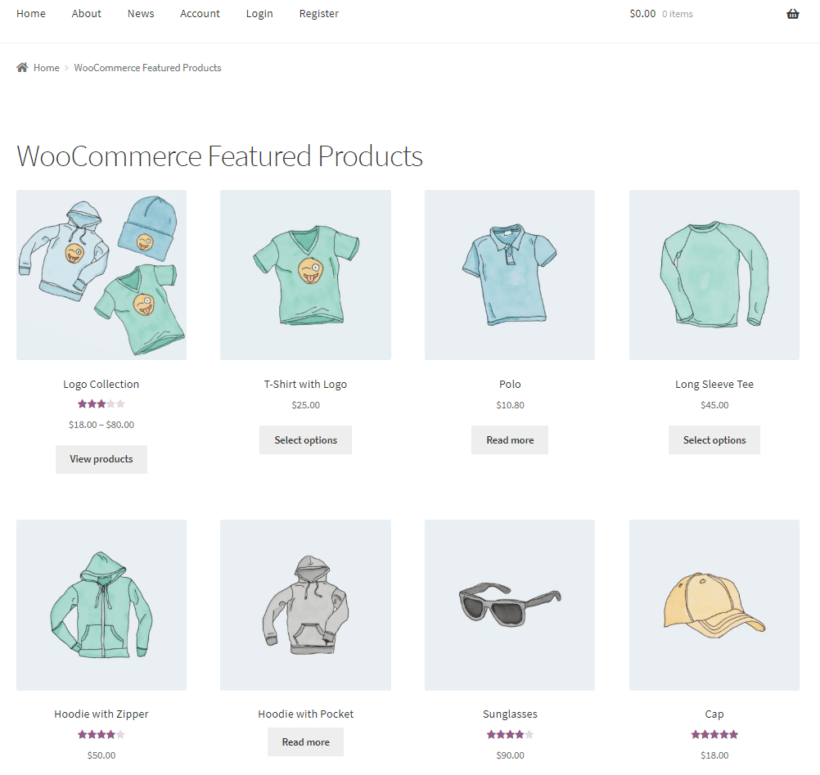 Featured products shortcode preview