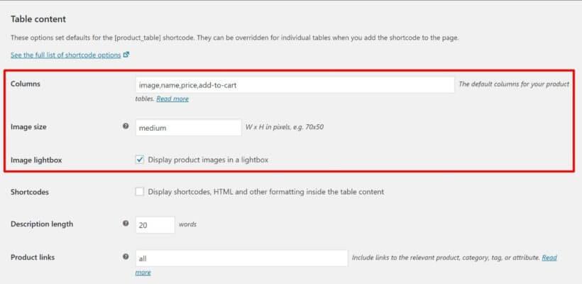 WPT column settings