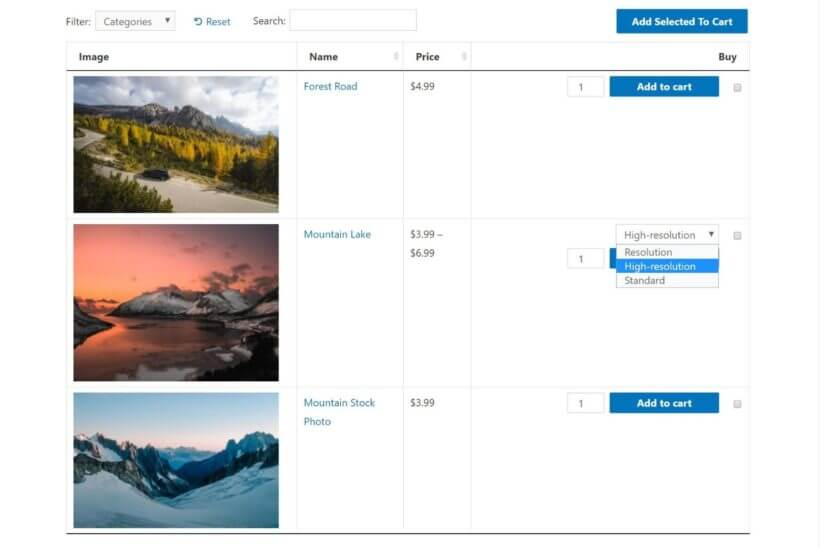 Sell photos on WooCommerce with a table layout