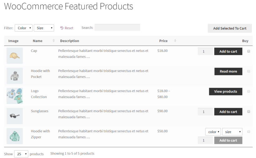 WooCommerce featured products in a table layout