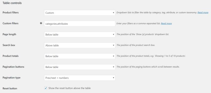 WooCommerce table plugin controls