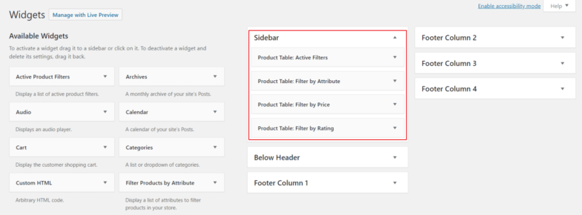 WooCommerce product filter widgets