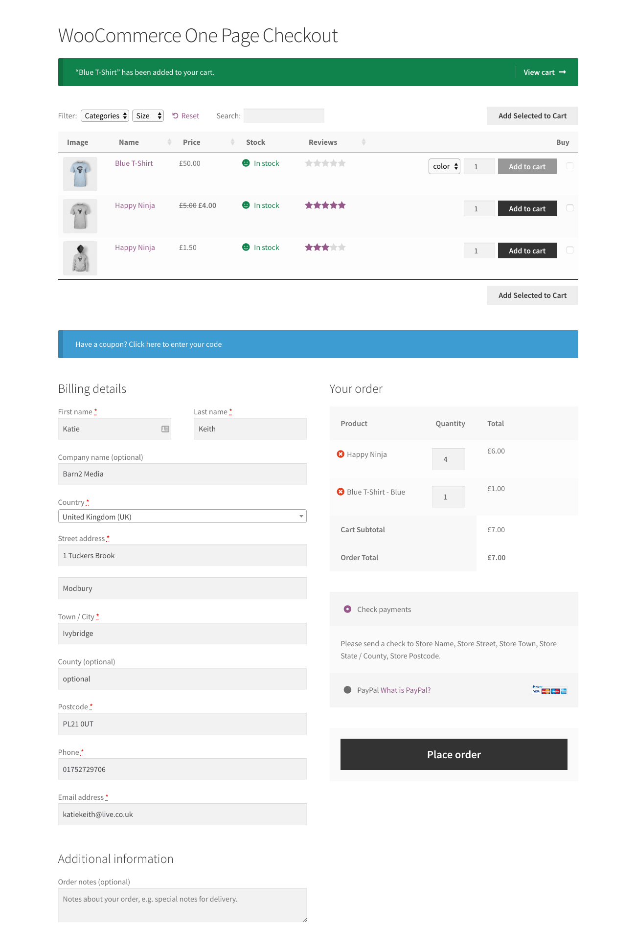 WooCommerce one page checkout with product table