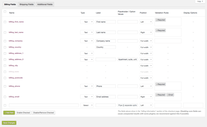 WooCommerce Checkout Field Editor plugin