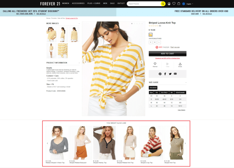 Forever21 cross-selling example