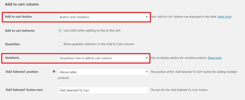 Configure add to cart buttons
