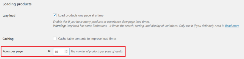 One page checkout product rows per page