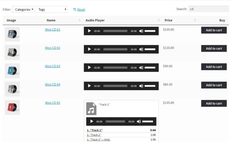 WooCommerce audio store