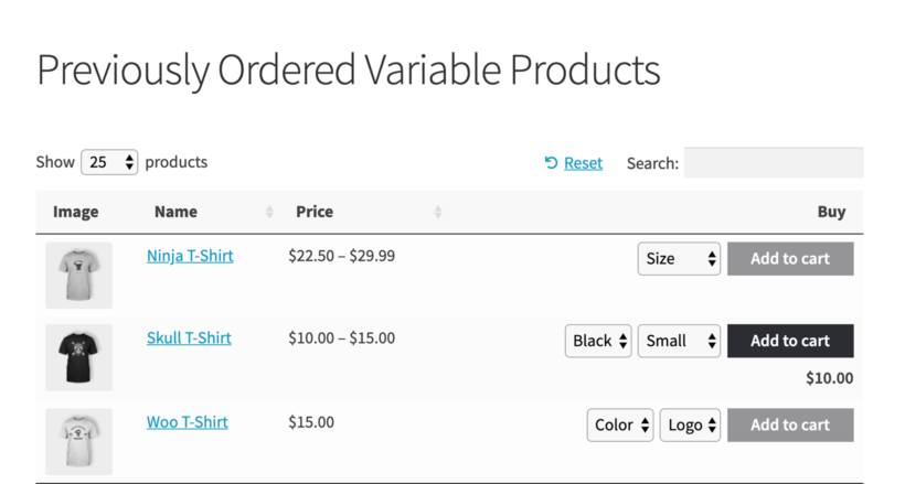 Previously Ordered Variations WooCommerce
