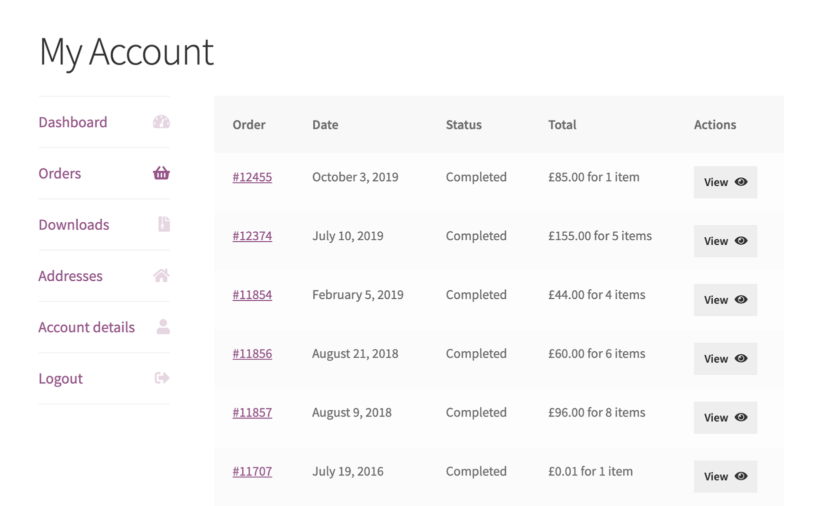 WooCommerce Account Page List Orders