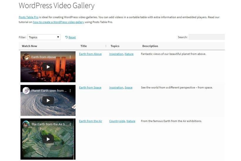 Posts Table Pro WordPress gallery plugin
