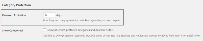 Set password expiration with Password Protected Categories