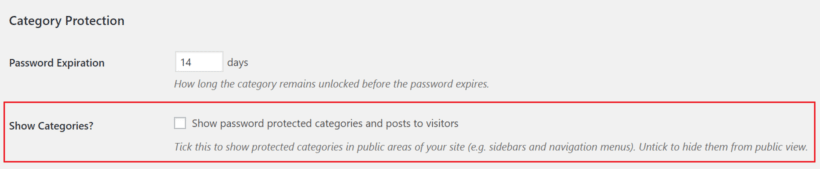 Show categories option