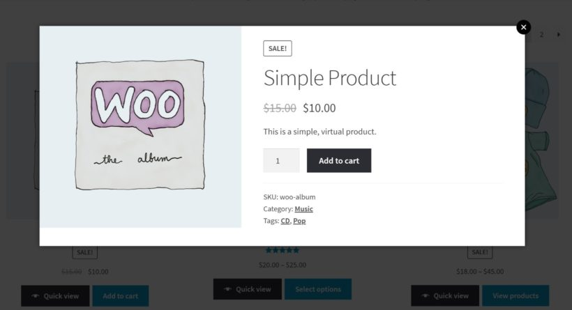 WooCommerce quick view pro example
