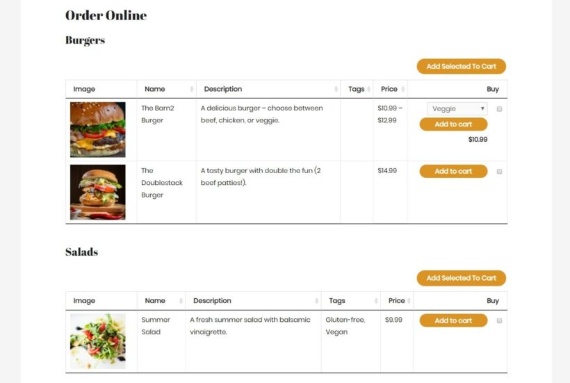 Example of an Uber Eats alternative WooCommerce restaurant ordering system