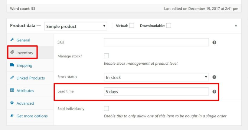 Setting a WooCommerce delivery date for an indviidual product